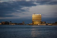 Amsterdam shore side ferry tower little holland stock image