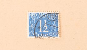 A stamp printed in The Netherlands Antilles shows it`s value, circa 1950. The Netherlands Antilles - Circa 1950: A stamp printed in The Netherlands Antilles stock images