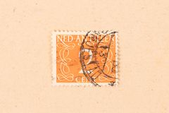 A stamp printed in The Netherlands Antilles shows it`s value, circa 1950. The Netherlands Antilles - Circa 1950: A stamp printed in The Netherlands Antilles royalty free stock photo