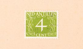 A stamp printed in The Netherlands Antilles shows it`s value, circa 1950. The Netherlands Antilles - Circa 1950: A stamp printed in The Netherlands Antilles stock photo