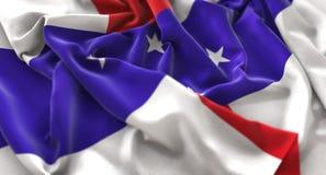 Netherlands Antilles Flag Ruffled Beautifully Waving Macro Close Stock Photo