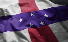 Netherlands Antilles Flag Rumpled Close Up.  royalty free stock photos