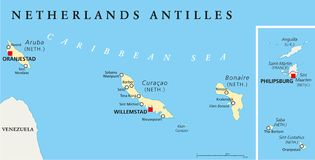 Netherlands Antilles Political Map Royalty Free Stock Image