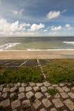 Netherlands beach. Lawn sky sea Royalty Free Stock Image