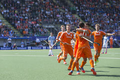 Netherlands beats Argentinia during the Hockey World Cup 2014. THE HAGUE, NETHERLANDS - JUNE 1: Dutch players celebrating a goal during the Hockey World Cup 2014 royalty free stock images