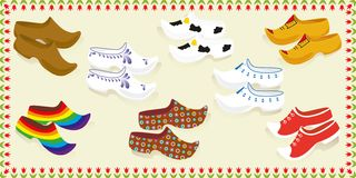 Netherlands. Card with wooden shoes. royalty free illustration