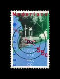 Environment pollution, modern transportation ecological requirements, transport, Netherlands, circa 1988,. NETHERLANDS - CIRCA 1988: canceled stamp printed in royalty free stock image