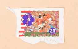 A stamp printed in the Netherlands shows the Dutch soccerteam at the World Championship soccer in 1994,. NETHERLANDS - CIRCA 1994: A stamp printed in the stock photos
