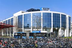 Office building Aegon and bike shed of station Royalty Free Stock Photos
