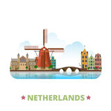 Netherlands country design template Flat cartoon s. Netherlands country design template. Flat cartoon style historic sight showplace web site vector illustration Royalty Free Stock Image