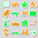Netherlands country theme color stickers set eps10 Royalty Free Stock Image