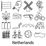 Netherlands country theme outline symbols icons set Stock Image