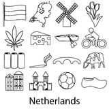 Netherlands country theme outline symbols icons set eps10 Royalty Free Stock Photos