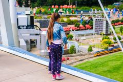 Netherlands. Den Haag. South Holland. Miniature park Madurodam.July 2016. miniature of yellow train, the Netherlands railroad. royalty free stock image