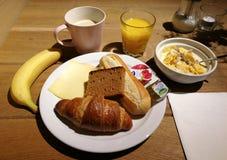 Free Netherlands Dutch Breakfast Fresh Fruit Salad Cereal Banana Fresh Baked Bread Orange Juice Milk Coffee Cinnamon Spice Bread Royalty Free Stock Photo - 178292515