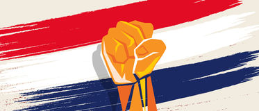 Netherlands Dutch flag independence painted brush stroke with hand fist fight patriotism. Vector Stock Photos