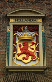 Netherlands emblem - Red lion in Hague city.  Royalty Free Stock Photo