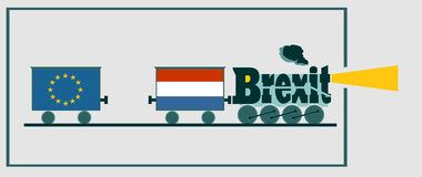 Netherlands and EU relationships. Brexit text Stock Image
