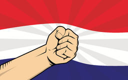 Netherlands fight protest symbol with strong hand and flag as background. Vector Stock Photo