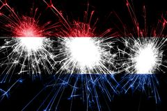 Netherlands fireworks sparkling flag. New Year, Christmas and National day concept.  vector illustration