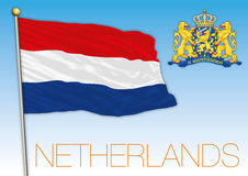 The Netherlands flag and coat of arms Stock Photo