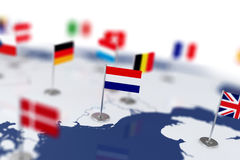 Netherlands flag in the focus. Europe map with countries flags Stock Images