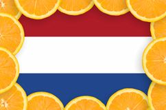 Netherlands flag in fresh citrus fruit slices frame. Netherlands flag in frame of orange citrus fruit slices. Concept of growing as well as import and export of royalty free illustration