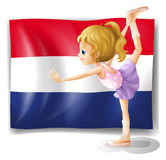 The Netherlands flag and the gymnast Royalty Free Stock Photo