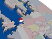 Netherlands with flag Royalty Free Stock Photography