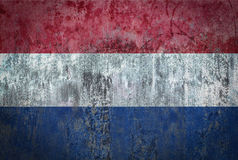 Netherlands Flag painted on a Wall. Ddistressed Painting of a Flag on an old Wall Stock Images