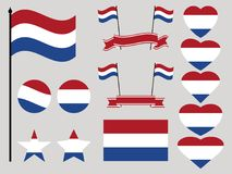 Netherlands flag set. Collection of symbols heart and circle. Vector Stock Photography
