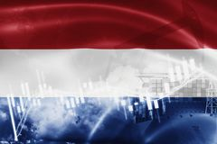 Netherlands flag, stock market, exchange economy and Trade, oil production, container ship in export and import business and. Logistics, background, banner stock illustration