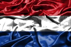 Netherlands flag waving in the wind. Netherlands flag waving in the wind stock photography