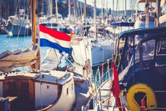 Netherlands flag on yacht Stock Photography