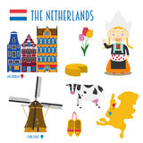 Netherlands Flat Icon Set Travel and tourism concept. Stock Photo