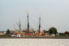 The Voc Ship Batavia. Netherlands,Flevoland,Lelystad august 2016: The Batavia is a replica of the original  of the Dutch East India Company Stock Images