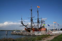 The Voc Ship Batavia. Netherlands,Flevoland,Lelystad august 2016: The Batavia is a replica of the original  of the Dutch East India Company Stock Photo