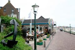 Terrace along the IJsselmeer. Netherlands,Flevoland,Urk,june 2017: Terrace along the IJsselmeer Royalty Free Stock Photography