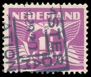 Netherlands, Flying dove. Netherlands - stamp printed in1926, Stylized animals, Birds, Flying dove Royalty Free Stock Photo