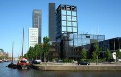 Sky line of Leeuwarden. Netherlands, Friesland, Leeuwarden,juni 2016:sky line of leeuwarden and Zuider Stadsgracht and Willemskade Royalty Free Stock Images
