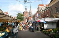 Culemborg weekly market on the market square. Netherlands,Gelderland,Culemborg, june 2016: weekly market on the market square Stock Photography
