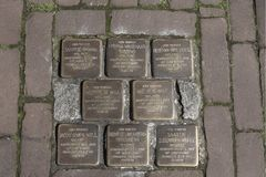 World War Two. Stumbling stones, or stolpersteine are memorial brass plates placed into the pavement outside certain houses or dep. Netherlands, Gouda, 2017 stock image