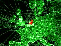 Netherlands on green map. With networks. Concept of international travel, communication and technology. 3D illustration. Elements of this image furnished by royalty free illustration