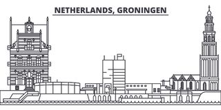 Netherlands, Groningen Line Skyline Vector Illustration. Netherlands, Groningen Linear Cityscape With Famous Landmarks Royalty Free Stock Photo