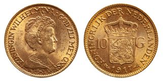 Netherlands 10 gulden gold coin vintage 1917 stock photos