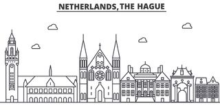 Netherlands, Hague architecture line skyline illustration. Linear vector cityscape with famous landmarks, city sights Stock Image