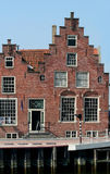 In the harbor of the citty of Harlingen. Netherlands, Harlingen,-june 2016: Historic stepped Gable at the Zuiderhaven Royalty Free Stock Photography