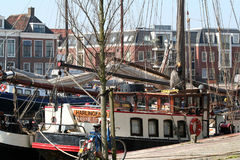 In the harbor of the citty of Harlingen. Netherlands, Harlingen,-june 2016: Ships moored in the port Royalty Free Stock Photography