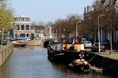 Harlingen. Netherlands, Harlingen,-june 2016: Ships moored in the port Stock Photo