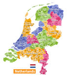 Netherlands high detailed local municipalities map colored by provinces  Royalty Free Stock Image